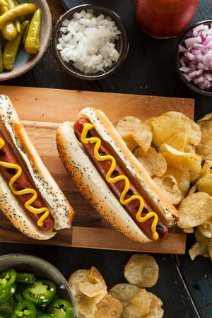 hot dogs: Gourmet Grilled All Beef Hots Dogs with Sides and Chips