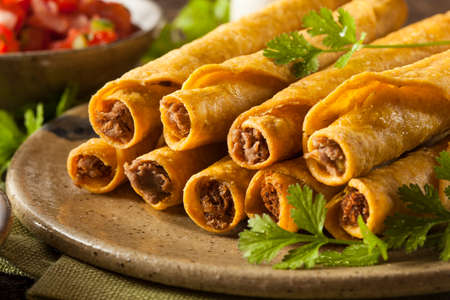 tortilla de maiz: Homemade Taquitos carne mexicana con Cilantro y Salsa