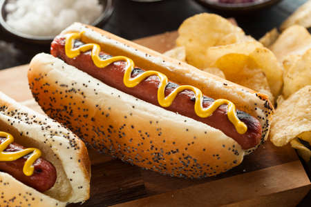 hot dog: Gourmet Grilled All Beef Hots Dogs with Sides and Chips