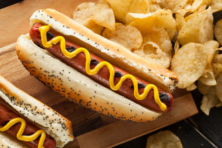 hotdog: Gourmet Grilled All Beef Hots Dogs with Sides and Chips