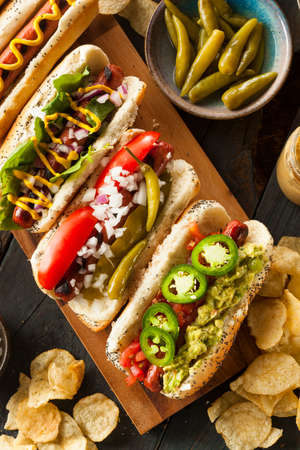 Gourmet Grilled All Beef Hots Dogs with Sides and Chips photo