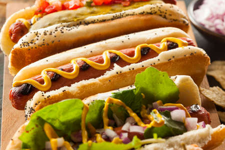 hotdog sandwiches: Gourmet Grilled All Beef Hots Dogs with Sides and Chips