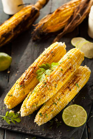 sweet corn: Delicious Grilled Mexican Corn with Chili, Cilantro, and Lime