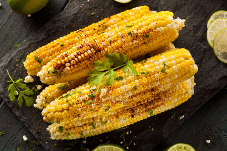 grill: Delicious Grilled Mexican Corn with Chili, Cilantro, and Lime