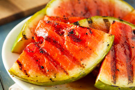 pulpy: Ripe Healthy Organic Grilled Watermelon with Honey Stock Photo