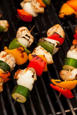 chicken grill: Homemade Chicken Shish Kabobs with Peppers and Onions