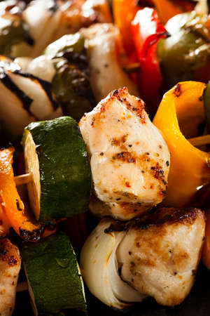 chicken kebab: Homemade Chicken Shish Kabobs with Peppers and Onions