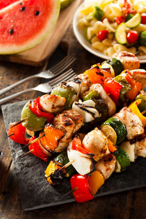 shishkabab: Homemade Chicken Shish Kabobs with Peppers and Onions