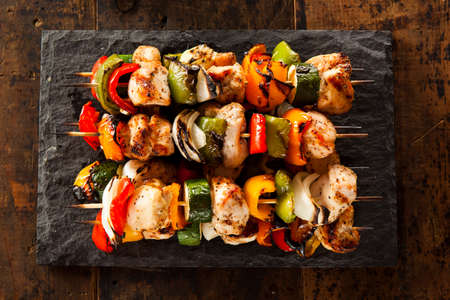 kebab: Homemade Chicken Shish Kabobs with Peppers and Onions