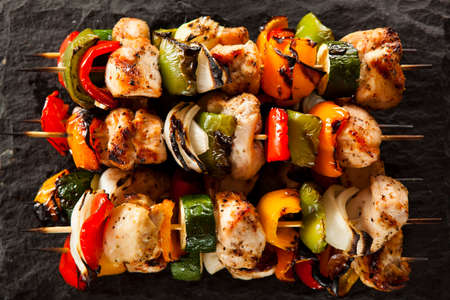 hot peppers: Homemade Chicken Shish Kabobs with Peppers and Onions