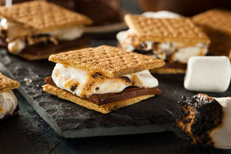 Homemade S'mores with Marshmallows Chocolate and Graham Crackers Stock Photo