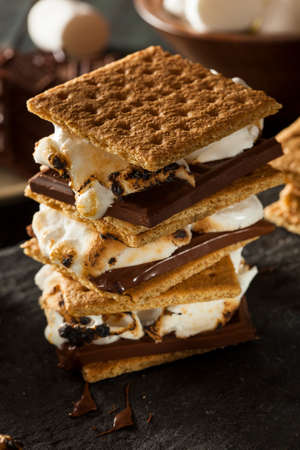marshmallows: Homemade Smores with Marshmallows Chocolate and Graham Crackers