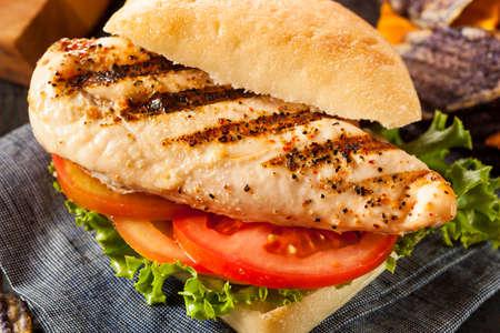chicken breast: Healthy Grilled Chicken Sandwich with Veggie Chips Stock Photo