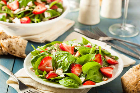 Organic Healthy Strawberry Balsamic Salad with Spinach photo