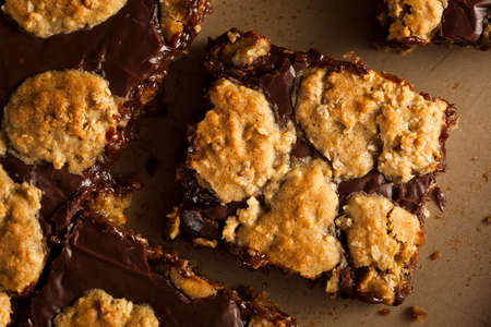 oatmeal cookie: Homemade Chocolate Revel Brownie Bars Ready to Eat Stock Photo