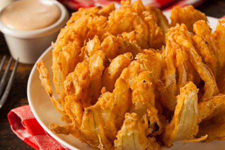 Homemade Fried Bloomin Onion with Dipping Sauce