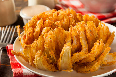 Homemade Fried Bloomin Onion with Dipping Sauce Stock Photo - 29785647