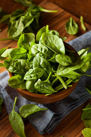 baby spinach: Raw Green Organic Baby Spinach in a Bowl