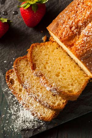 pound cake: Homemade Pound Cake with Strawberries and Cream