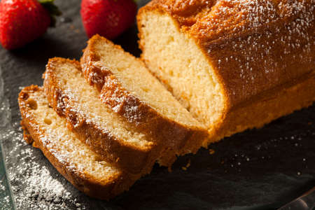 Homemade Pound Cake with Strawberries and Cream Stock fotó - 30004717