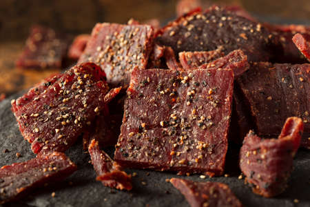 Dried Peppered Beef Jerky Cut in Strips Imagens