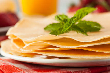 Delicious Homemade French Crepes Ready for Breakfast Stock Photo