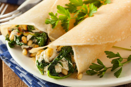 sweet and savoury: Delicious Homemade Savory French Crepes with Spinach and Feta