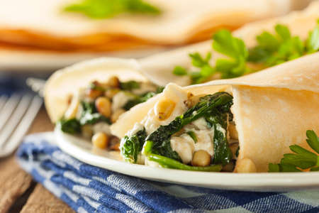 crepes: Delicious Homemade Savory French Crepes with Spinach and Feta