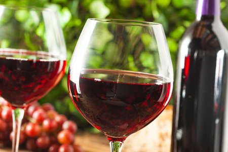 cabernet sauvignon: Refreshing Red Wine In a Glass with Grapes Stock Photo