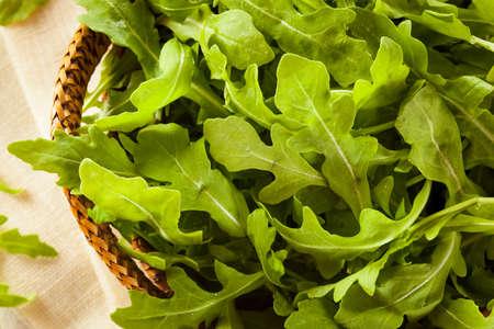 Organic Raw Green Arugula in a Basket Imagens