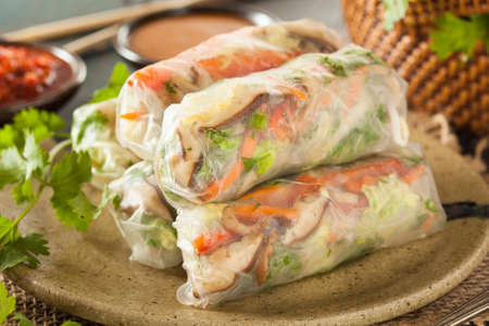 Healthy Vegetarian Spring Rolls with Cilantro Carrots and Cabbage Reklamní fotografie