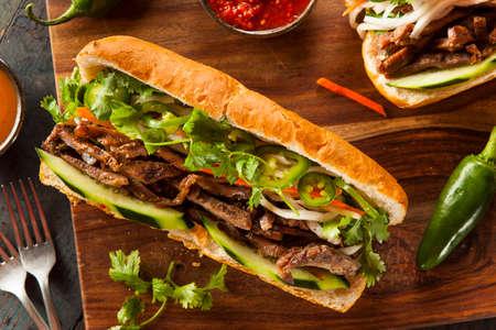 Vietnamese Varkensvlees Banh Mi Sandwich met Koriander en Daikon