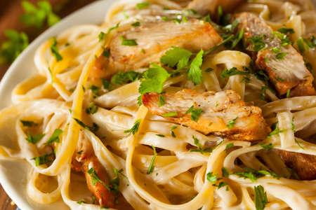 alfredo: Homemade Fettucini Aflredo Pasta with Chicken and Parsley