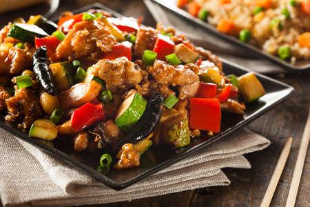 ピーマンと野菜と自家製カンパオ チキン