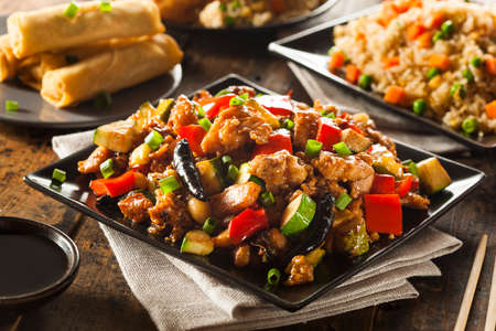 chicken rice: Homemade Kung Pao Chicken with Peppers and Veggies