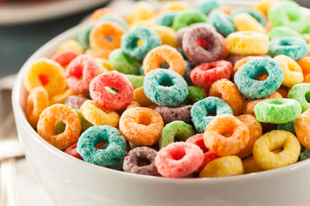 coloful: Coloful Fruit Cereal Loops in a Bowl Stock Photo