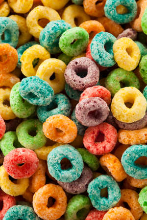 with loops: Coloful Fruit Cereal Loops in a Bowl Stock Photo