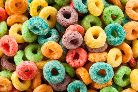 Coloful Fruit Cereal Loops in a Bowl Stock Photo