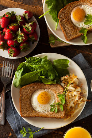 Healthy Egg in a Basket for Breakfast photo
