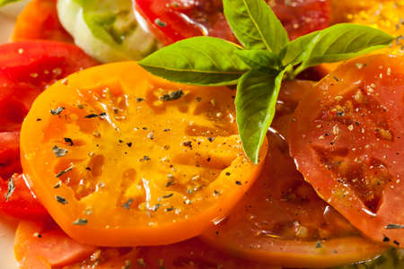 heirloom: Healthy Heirloom Tomato Salad with Basil and Dressing