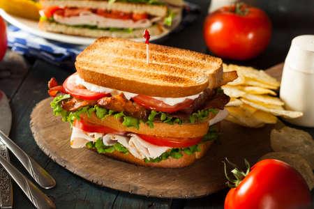 turkey bacon: Turchia e Bacon Club Sandwich con lattuga e pomodoro Archivio Fotografico