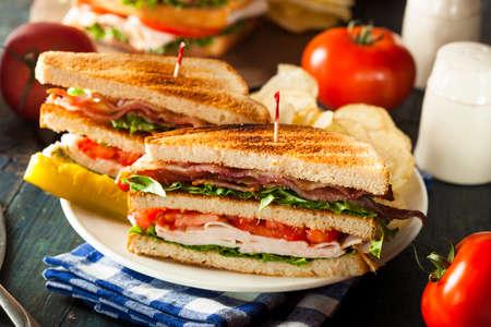 Turkey and Bacon Club Sandwich with Lettuce and Tomato Foto de archivo