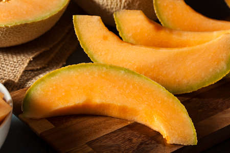 Health Organic Orange Cantaloupe All Cut Up Stock Photo