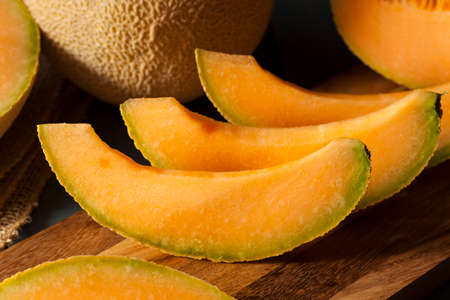 Health Organic Orange Cantaloupe All Cut Up Reklamní fotografie
