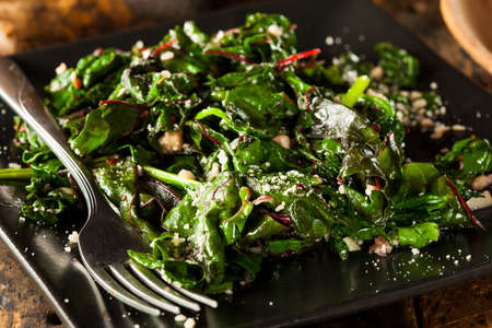 Homemade Healthy Sauteed Swiss Chard with Garlic and Cheese