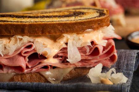 Homemade Reuben Sandwich with Corned Beef and Sauerkraut Zdjęcie Seryjne