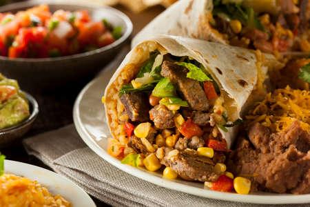 fajita: Homemade Giant Beef Burrito with Lettuce Salsa and Rice