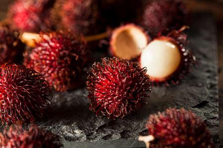 rambutan: Fresh Organic Tropical Rambutan on a Background