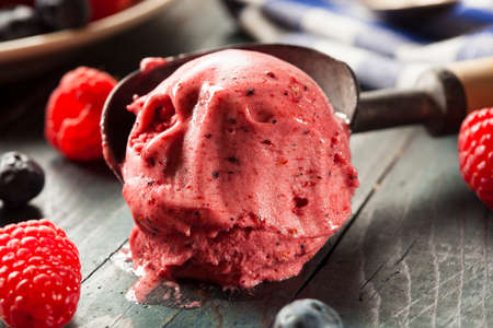 berry: Homemade Organic Berry Sorbet Ice Cream Ready to Eat Stock Photo