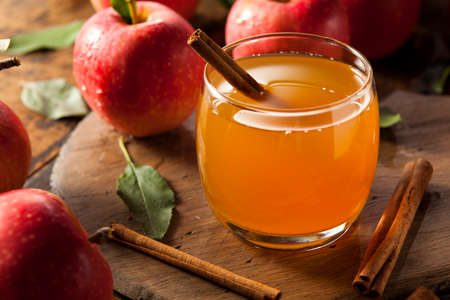 Organic Apple Cider with Cinnamon Ready to Drink Foto de archivo